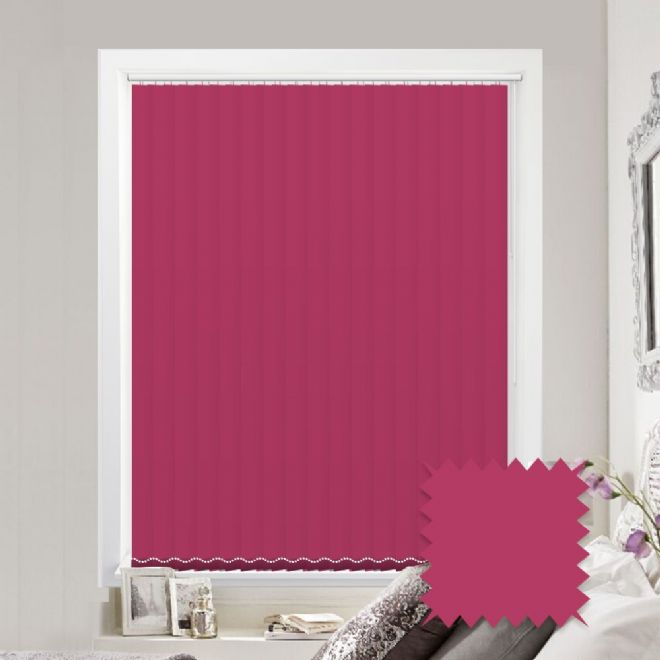 Made to measure vertical blinds in Splash Lipstick Pink plain fabric - Just Blinds